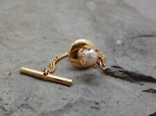 Genuine Pearl Tie Tack Pin Gold Tone 6mm White Safety Clutch Bar / Chain