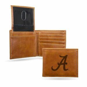 Alabama Crimson Tide Laser Engraved Brown Billfold Wallet
