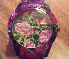 GUESS ROSE PETAL WATCH, NEVER WORN. STAINLESS STEEL W FULL DESIGN (BURGUNDY)