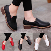 Women Casual Ankle Boots Round Toe Shoes PU Leather Low Heels Block Size Fashion