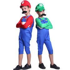 Boys Kid Super Mario Luigi Bros Cosplay Costume Uniform Outfit For 5-12-Year-Old