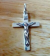 Sterling Silver Nice 30x19mm Plain Crucifix with Jesus Cross Charm