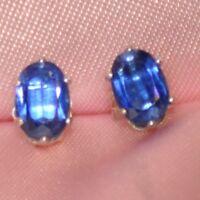 BEAUTIFUL BLUE OVAL KYANITE STERLING EARRINGS 8mmX6mm-  app. 2.40ctw.