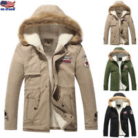 Men Fleece Lined Winter Warm Coat Fur Collar Quilted Jacket Hooded Outwear Parka