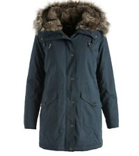 ME066413 Mo-Ka Dark Teal Blue Microfiber Faux Fur Hood Jacket SMALL
