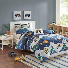 Boys Orange & Green Monster Trucks Blue Full/Queen Comforter, Sham & Toss Pillow