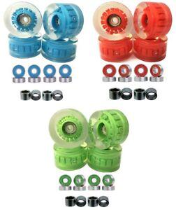 57x32mm LED Skateboard Longboard  Wheels w/ Bearings and Spacers