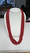 W/Silver Beads Coral Color Versatile/Nice New Heishi 29 Strand Necklace