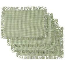 NEW Green Homespun Check Woven Cotton Placemats Set of 4 Sage Homespun Placemats