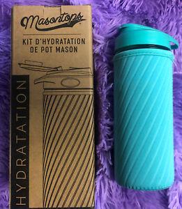 MASONTOPS GLASS WATER BOTTLE WITH NEOPRENE IN TURQUOISE Fabfitfun Hydration Kit