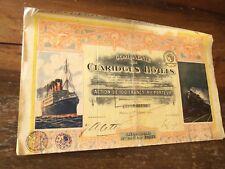Compagnie des Claridges Hotels 100 franc share 1921