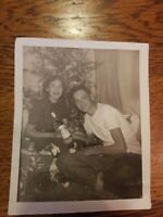 Vintage Photo First Bottle Alcohol Young Couple Black & White Handsome Pretty