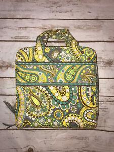 Vera Bradley Tech Organizer Zipper Cosmetic Travel Case Bag Lemon Parfait Yellow
