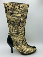 IRREGULAR CHOICE Gold Metallic Leather MUSIC NOTE Print KNEE Hi Boots Heels 7 38