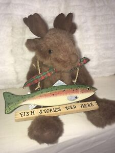 """Moose with """"Fish Stories Told Here"""" metal & wood sign. For your fave fisherman."""