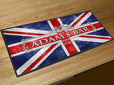 Personalised with your name White Beer Label Union Jack bar runner home bar