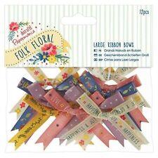 12pc Papermania Do Crafts Large Folk Floral Ribbon Bows Craft DIY Embellishment