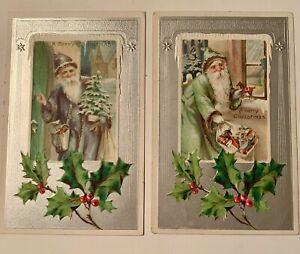 2 Santa Postcards Blue Robe and Green Robe