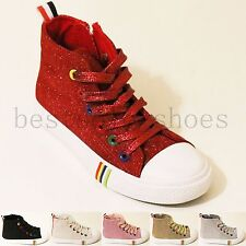 KIDS BOYS GIRLS RUNNING CANVAS CHILDREN SPORTS SIDE ZIP PUMPS LACE UP SHOES SIZE