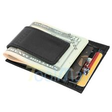 Men's Genuine Leather Money Clip RFID Blocking Wallet Slim Magnet Card Holder