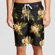 50b3306019 NEW Merona Men's swim trunks Hawaiian print black Shorts Size Large knee  length