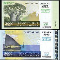 Madagascar 2000 - 5000 Ariary 2007-2012, UNC, 2 Pcs SET, P-93 P-94, COMM,NATUREL