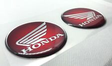 Honda Logo Badge 3D Domed Stickers. Silver Black to Red. 60mm diam.