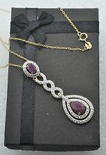 Echte Edelstein-Halsketten & -Anhänger mit Rubin und Tropfen für Damen