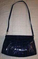 Beautiful Vintage Genuine Eel Skin Blue Cross body Shoulder Bag Clutch Purse