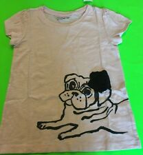 NWT BABY GAP HAVANA GRAPHIC T PINK DOG WITH  BLACK FABRIC FLOWER TEE 4T 4 YEARS