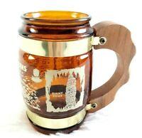 Siesta Ware Made in USA Carlsbad Caverns NM Souvenir Brown Glass Mug Wood Handle