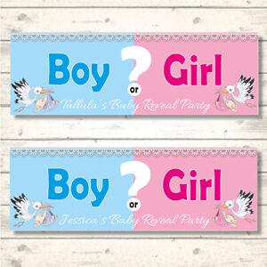 2 PERSONALISED GENDER REVEAL BANNERS - BOY OR GIRL?  800 x 297mm STORK DESIGN