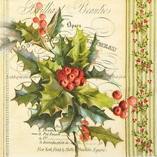 4x Paper Napkins for Decoupage Decopatch Christmas Holly
