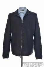 COSTUME NATIONAL Solid Black MOHAIR WOOL Mens Zip Bomber Jacket Coat - SMALL