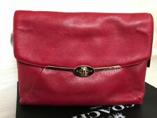 NWT COACH MADISON pebble Leather Chain Shoulder bag/Clutch Red Scarlet 26223
