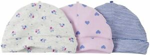 Carter's Baby Girls 3 Pack Caps Hats Hearts Stripes Flowers Floral 0-3m NWT NEW