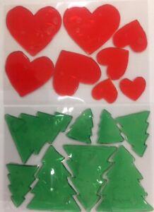 Window Jellies Jelly Cling Sticker Gel Decal HEART / TREE squishy sticky x8