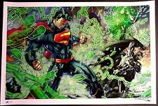 JIM LEE & ALEX SINCLAIR - JUSTICE LEAGUE SUPERMAN BATMAN FINE ART PRINT  S&N 30