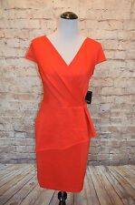 Modcloth Exalted Executive Dress Red NWT 12 Peplum Knit cap sleeve pleats Marina