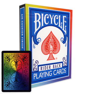 Rainbow Backed Bicycle Playing Cards  / Deck - BLACK - Genuine  + 3 Gaff cards