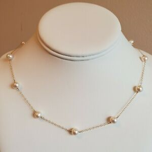 """White 7-8 mm Freshwater Pearl 14K Yellow Gold Filled Tin Cup Necklace 18"""""""