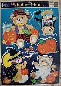 Vintage HALLOWEEN WINDOW CLINGS ~ TEDDY BEARS CANDY BATS PUMPKINS ~ AWESOME!