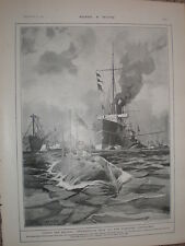 Submarine 2 from HMS Hazard trial at Stokes Bay S M Laurence 1902 old print