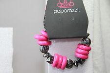Paparazzi Bracelet Kids - Starlet Shimmer (new) DARK PINK BEADS & GUN METAL GREY