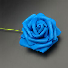 10x Foam Roses Artificial Flowers With Stem Colorfast Wedding Bride Bouquet 10 X Rose Blue