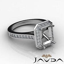 Diamond Engagement Ring Emerald Semi Mount Halo Setting 18k White Gold 0.7Ct
