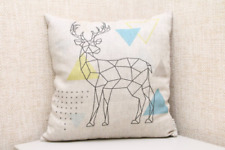 Linen Nature Pillow with filling, linen decorative pillow with deer