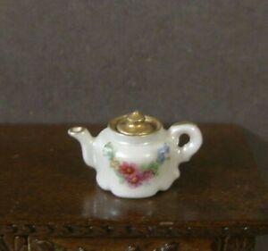 """ Tea for Two"" PORCELAIN TEAPOT ~Dollhouse~England~1:12 scale ~ Artisan ~ Marked"