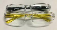 Mens Womens Reading Glasses 2 Pack Clear/Yellow/Black +2.25 Strength Plastic