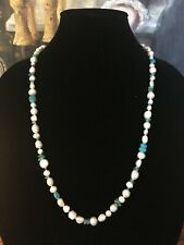 Honora Ming Pearl Turquoise and Sea Glass Necklace